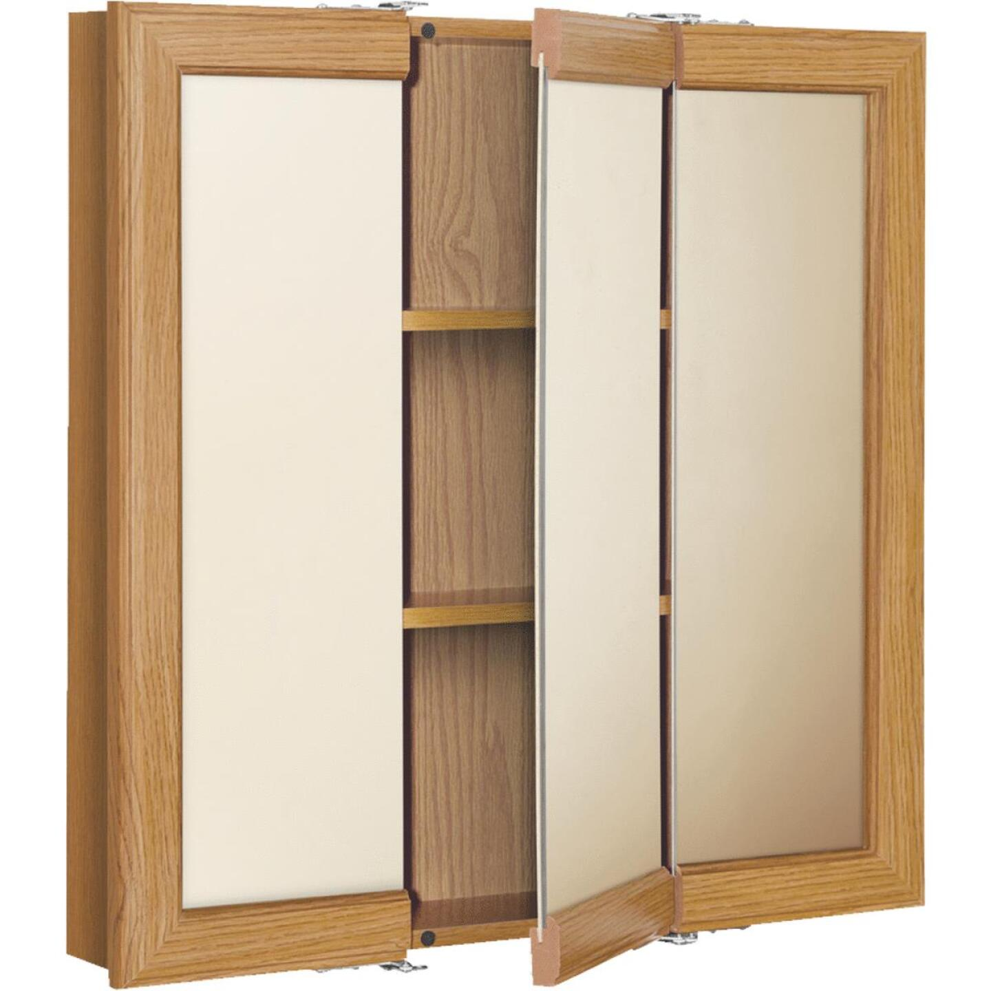Continental Cabinets Oak 30 In. W x 28-3/4 In. H x 4-1/2 In. D Tri-View Surface Mount Medicine Cabinet Image 3