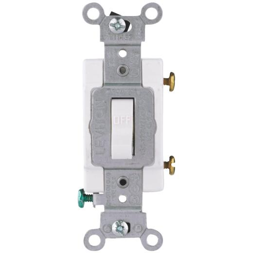 Leviton Commercial Grade 15 Amp Toggle Single Pole Switch, White