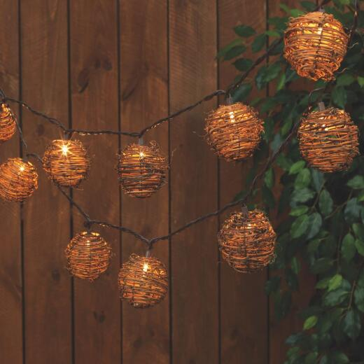 Everlasting Glow 8.5 Ft. 10-Light Clear Rattan Sphere String Lights