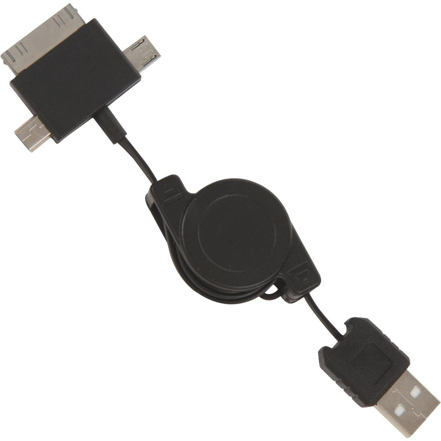 Aries 3-in-1 Multi-Tip Micro USB, Mini USB, Apple 30-Pin Black Charger Image 1